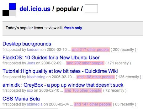 CSSmania en el top 5 de la sección popular de del.icio.us