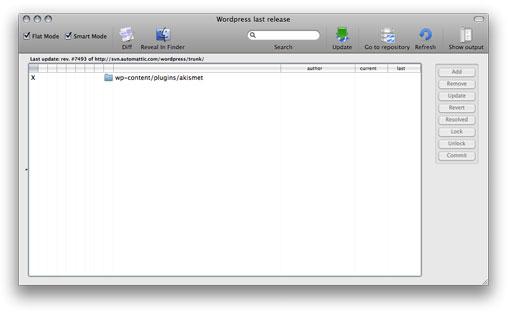 Ejemplo de ventana working copy en svnX