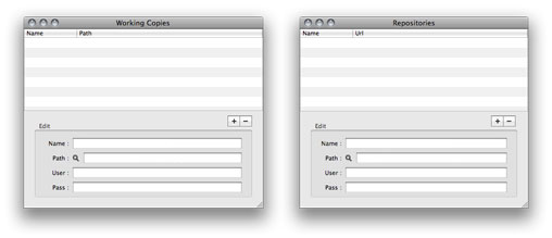 Ventanas Working Copies y Repositories